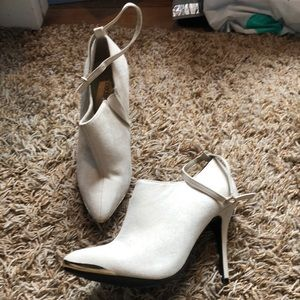 Tan bootie with removable ankle strap